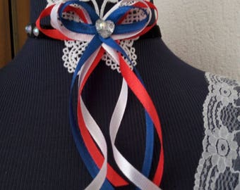 Pretty velvet black, white titles and Butterfly lace Ribbon Choker