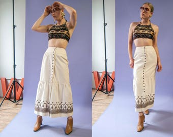70s The Villager ivory & brown embroidered button up tiered maxi skirt | size XS