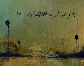 Theories of Flight - Blackbirds - 8 x 10 Rural American Landscape - Wheat and Water - Encaustic & Photographic Etching - Limited Edition