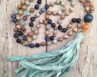 Custom Mala/Custom Mala Necklace/Create Your Own Mala/Mala Bead Necklace/Sari Silk Tassel/Silk Tassel/108 Mala Beads/108 Mala Necklace