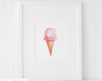 Watercolor Ice Cream, Watercolor Painting, Wall Art Print - Art Drawing Watercolor Print - 5x7, and 8x10