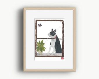 Boston Terrier Art, Boston Lover Gifts, Peeking Boston, Boston Terrier Peek