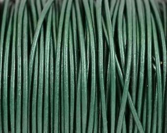 1.5mm Metallic Ocean Green Leather Cord Round