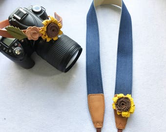 NuovoDesign unique and tasteful leather sunflower Aqua denim camera strap for DSLR and mirrorless