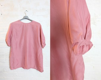 1980s vintage pink silk t-shirt blouse - Medium / Large size