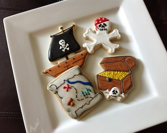1 dozen custom decorated pirate cookies/ treasure chest/ pirate ship/ crossbones/ treasure map