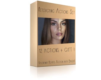 Photoshop Retouching Actions Set + Extra Gift / Perfect skin action / Teeth Whitening / Mattifier / Color correction / Actions / Brushes