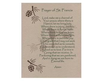 St Francis Prayer Inspirational Art Wall Art Paper Cut 8X10 pine cones bird unframed