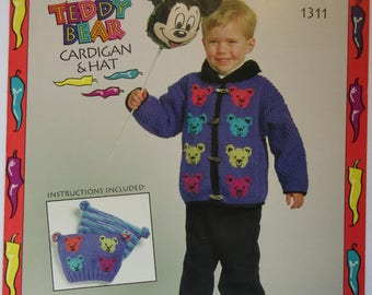 Teddy Bear Cardigan & Hat knitting pattern for kids sizes 2 - 8, worsted weight yarn, Bernat 1311
