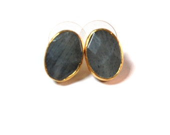 Grey Labradorite Oval Stud Earrings
