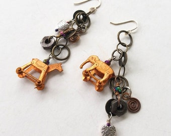 Assemblage Earrings, Upcycled Jewelry, Drop Chain Earrings, Vintage Miniatures