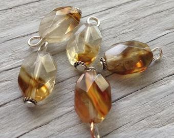 Handmade beaded charms, honey amber quartz, faceted gemstone charm