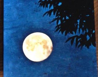 Awareness- Metal panel, Full Moon Photograph on aluminum, Golden Moon in blue sky, aluminium high gloss wall art, lunar cycle moon art