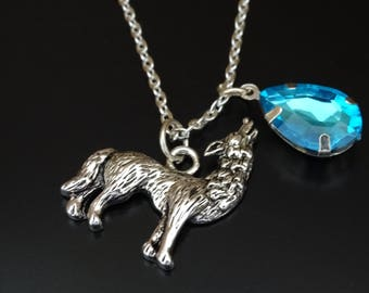 Wolf Necklace, Wolf Charm, Wolf Pendant, Wolf Jewelry, Howling Wolf Necklace, Howling Wolf Jewelry, Wolf Gifts, Moon Necklace, Moon Jewelry