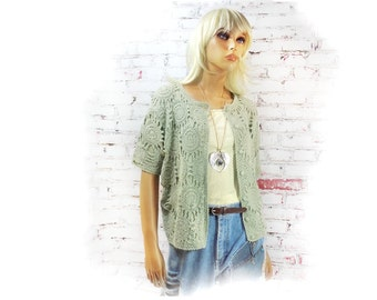 Cropped sweater , chunky knit sweater , Vintage Green Crochet Sweater, Vintage Cardigan, Crochet Cardigan,  Crochet Cardigan # 114
