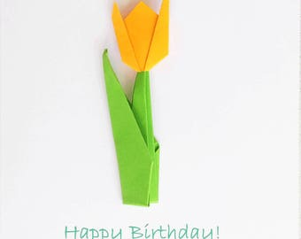 Greetings Card - Tulip - removeable origami tulip, birthday,mothers day, get well soon