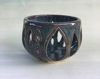 Glossy Blue Candleholder
