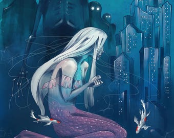 Mermaid's Tears, Digital print of original artwork, A3 size, Fantasy, illustration
