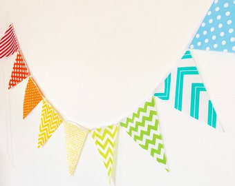Rainbow Colored Bunting, Rainbow Banner, Fabric Pennant Flag Garland, Birthday Party, Red, Orange, Blue, Green Polka Dot, Clown Stripe