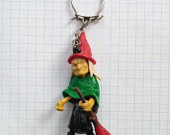 Vintage Halloween keychain featuring witch with broom, Halloween Witch