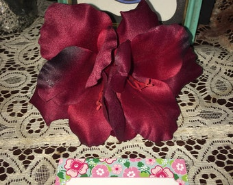 Double dark blood red flower hair clip