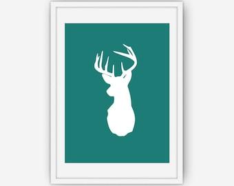 Moss Green Deer Head Print, Deer Antlers Wall Art, Green Wall Art, Deer Print, Wall Art, Printable, Instant Download