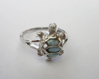 "MOTHERS DAY SALE Very Cool Genuine Aaa Grade Larimar ""Turtle"" Ring .925 Sterling Silver  Free U.S. Shipping  U.S. Size 7"