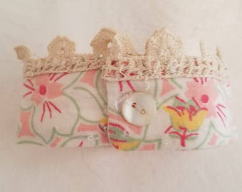 Handmade vintage fabric and lace cuff