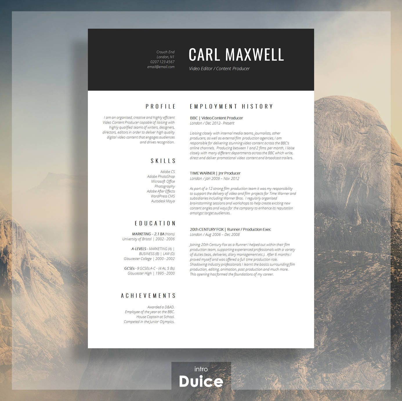 Professional resume template cv template resume advice zoom yelopaper Gallery