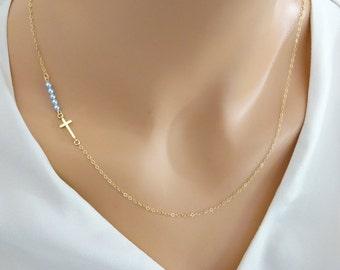 Sideways Cross Necklace, custom pearl necklace, crystal necklace, gold fill chain, Gold Cross Necklace, Baptism jewelry