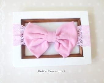 Pink Baby Headband, Big Bow Head Band, Baby Head Wrap, Infant headband lace, toddler hair bow, baby bow headband, baby hair bow