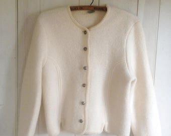 Vintage White Wool Geiger Sweater Jacket