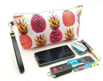 You Had Me At Aloha - Medium Clutch with brass zipper and leather strap - 11x 5 x 2 - Ready to Ship