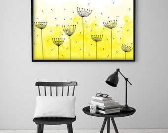 """Original Watercolor Painting - Abstract Dandelions 1 - 8.5x12"""" up to 24x34"""" Art Print, Wall Decor, Illustration"""