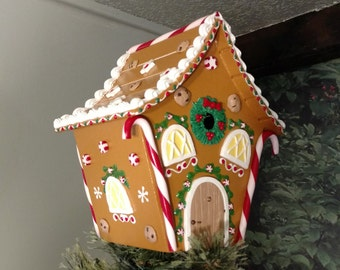 Candy Cane Gingerbread House Tree Topper