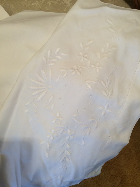 Embroidered 1940's 18x76 ins. Bolster cover. Good and strong