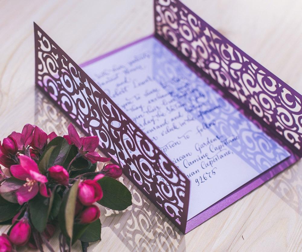 Digital vector template for laser cut wedding invitation