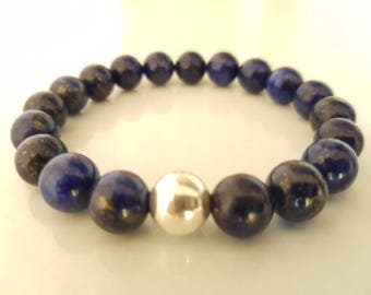 Lapis lazuli men bracelet mens gifts natural lapis lazuli
