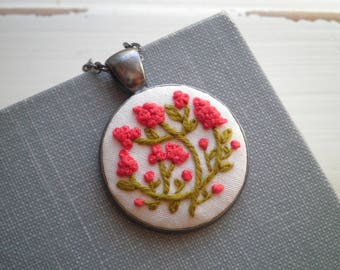 Embroidered Necklace - Coral Red Hyacinth Embroidery Necklace - Tiny Flower Garden- Floral Fiber Art Boho Holiday Jewelry Gift