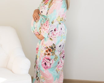 Mother & baby robe set, Maternity robe ankle length deliver, pregnancy and labor, bridal shower gift, wrap around robe lounge wear, hospital