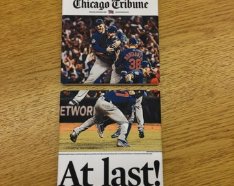 Chicago Cubs World Series Champions Coasters - 2 coasters with the front page of the Chicago Tribune