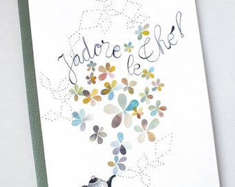 Flower teapot watercolor notebook, Tea journal, I love tea, Cute teapot, Flower and tea, Pastel flower, French quote, Watercolor journal