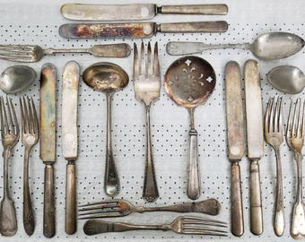 Antique Lot Vintage Silverware, Flatware, Serving Pieces. Eclectic mix & match, extremely tarnished, rustic, distressed. Tomato Server, etc.