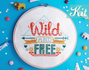 Quote Cross stitch KIT, modern cross stitch,Adventure cross stitch kits, Embroidery kit, DIY kit, funny needlepoint kit - Wild And Free