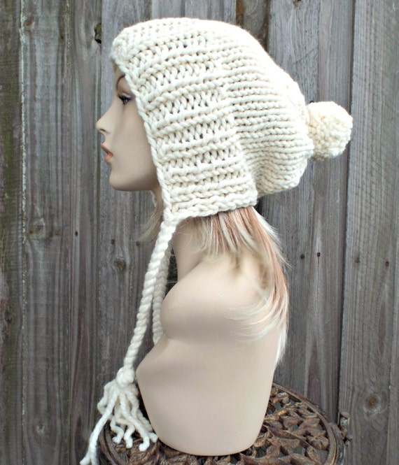 Cream Slouchy Pom Pom Hat - Cream Hat Cream Beanie Slouchy Hat Slouchy Beanie Winter Hat Womens Hat Charlotte - READY TO SHIP