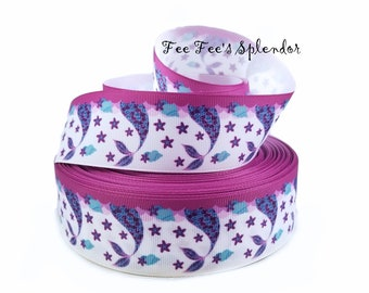 "1.5"" Grosgrain RIBBON - Mystical Mermaid Tail Character print - By the yard - ribbon- 1.5 inch - 38 mm"