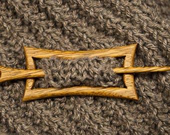 Handmade wooden shawl pin / hair pin rectangular