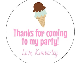 12 Ice Cream Stickers, Summer Birthday, Ice Cream Party, Ice Cream Cone, Sweet Stickers, Ice Cream Labels, Birthday Stickers, Baby Shower
