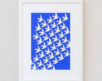 Art Print / Wall art / Birds in flight on blue / A4 and A3 sizes / Moving home gift / Free uk shipping