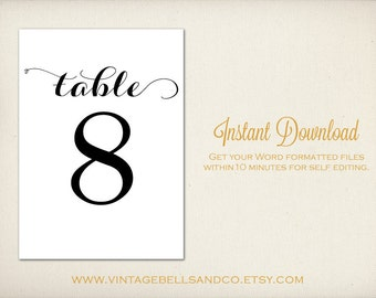 table numbers templates